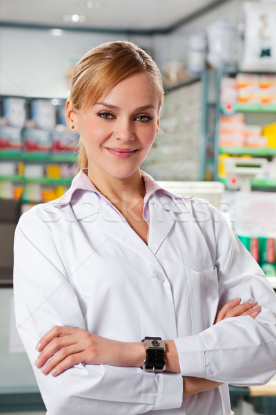 Photo stock: Pharmacie · portrait · adulte · pharmacien · regarder · caméra