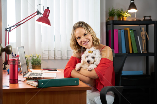 Stock photo: Portrait Business Woman Working With Pet Dog In Office