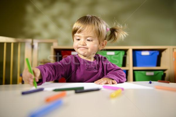 Foto d'archivio: Neonati · divertimento · bambino · disegno · scuola · bambina