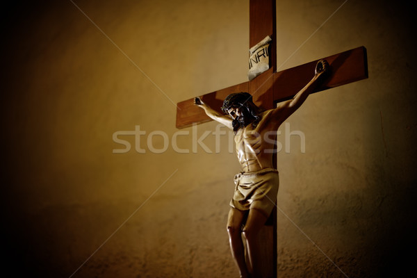 Catholic church and Jesus Christ on crucifix  Stock photo © diego_cervo
