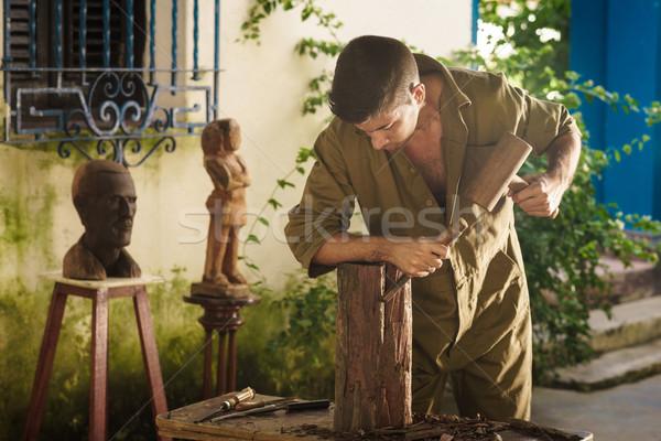 小さな 彫刻家 アーティスト 作業 木材 若い男 ストックフォト © diego_cervo