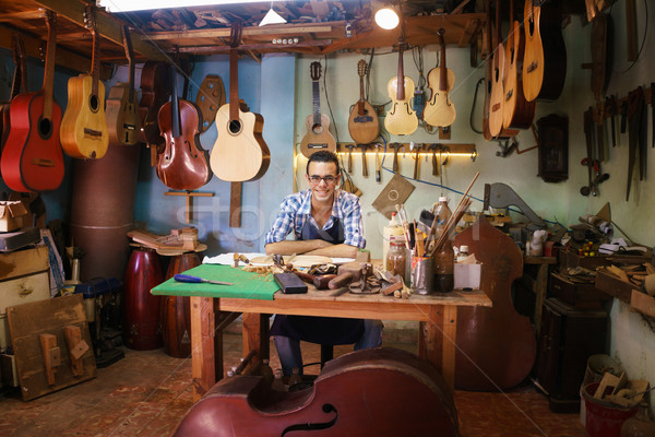 Portrait Of Happy Artisan Lute Maker In Guitar Shop Smiling At C Stock photo © diego_cervo
