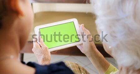 Grootmoeder kleinkind surfen internet familie Stockfoto © diego_cervo