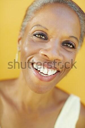 Maturo african donna sorridente fotocamera ritratto 50 anni Foto d'archivio © diego_cervo
