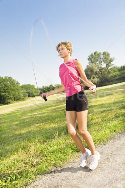 Stockfoto: Jogging · jonge · blond · vrouw · springen · touw
