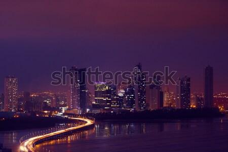 Panama City Night Skyline With Car Traffic On Highway Stock photo © diego_cervo