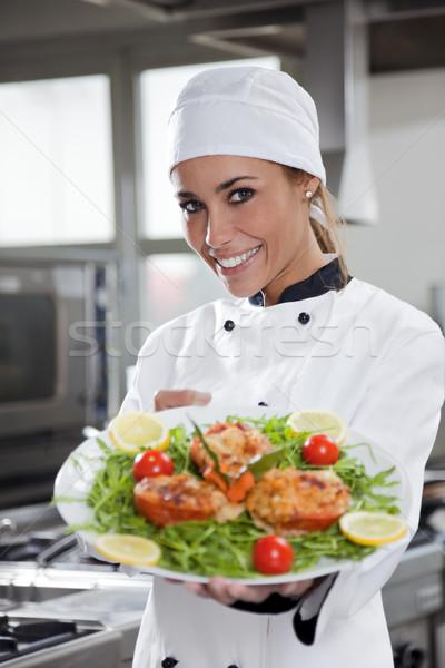 Stock foto: Küchenchef · Porträt · Erwachsenen · weiblichen · Küche