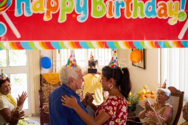 Idosos festa de aniversário amigos hospital família Foto stock © diego_cervo