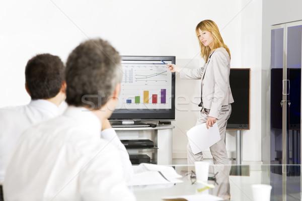 ビューロー オフィス ブロンド 女性 ビジネス ストックフォト © diego_cervo