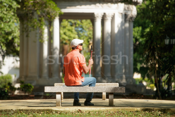 Stock photo: Blind Man Sitting In City Park And Resting