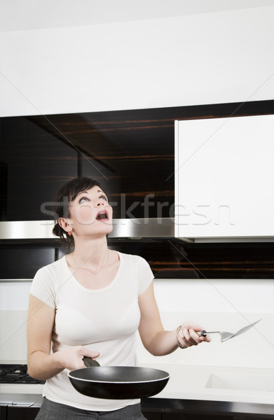 Stockfoto: Home · leven · vrouw · puinhoop · wolken