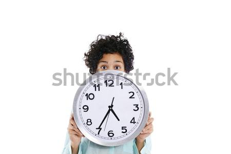 hipanic woman holding big clock on her face Stock photo © diego_cervo