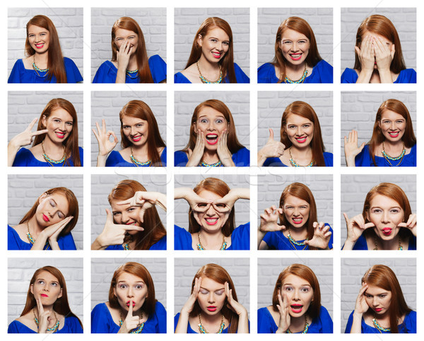 Stock photo: Facial Expressions Of Young Redhead Woman On Brick Wall