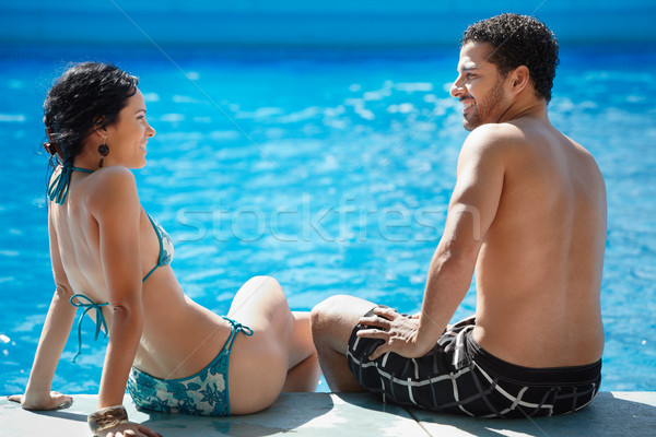 young couple doing honeymoon in resort Stock photo © diego_cervo