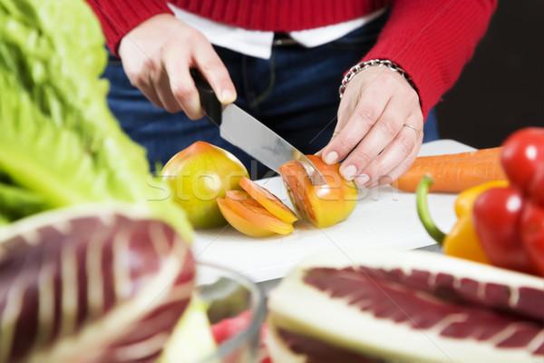 Stockfoto: Home · leven · vrouw · iets · voedsel · salade