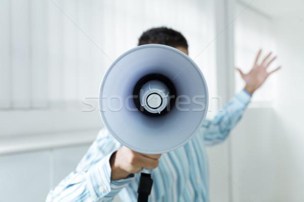 メガホン 小さな ビジネスマン オフィス 悲鳴 ビジネス ストックフォト © diego_cervo