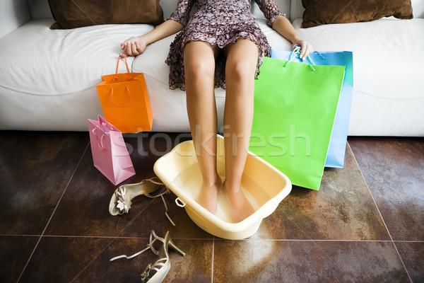 Alışveriş kadın ayaklar su uzun gün Stok fotoğraf © diego_cervo