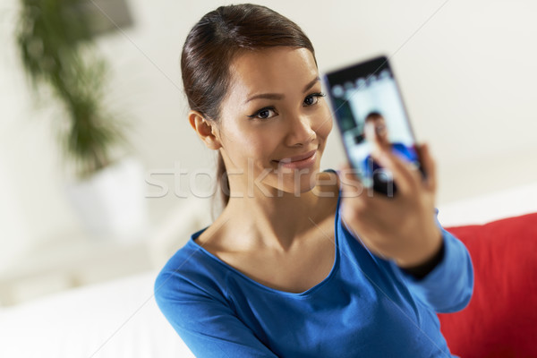 Asian fille réseau social portrait belle Photo stock © diego_cervo