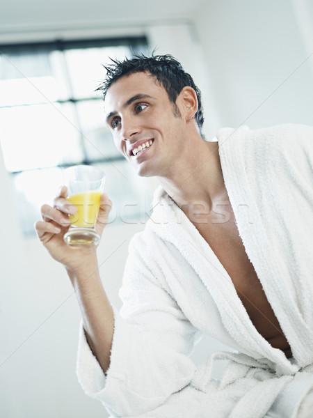 Férfiszépség felnőtt kaukázusi férfi fehér fürdőköpeny Stock fotó © diego_cervo
