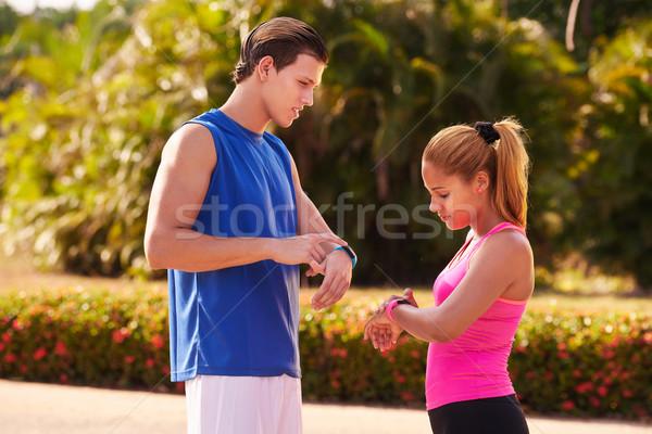молодые люди спортивных подготовки фитнес шаги борьбе Сток-фото © diego_cervo
