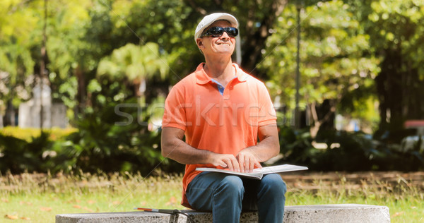 Handicapped People With Disability Blind Man Reading Braille Boo Stock photo © diego_cervo