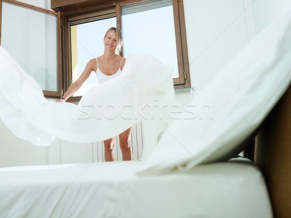 Stock photo: woman doing housework