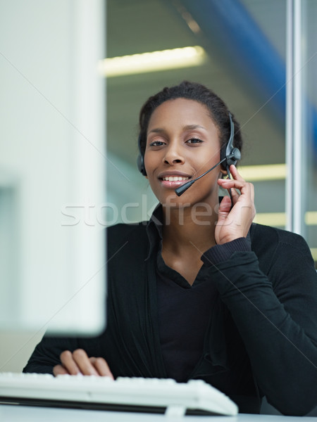 Stock photo: woman working in call center