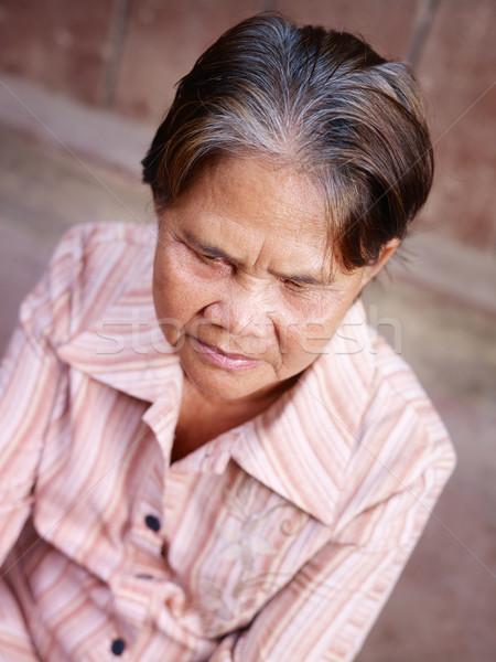 Photo stock: Portrait · vieux · asian · femme · regarder · caméra