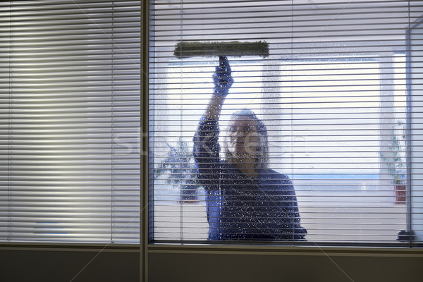 Professional maid cleaning and wiping window in office with soap Stock photo © diego_cervo