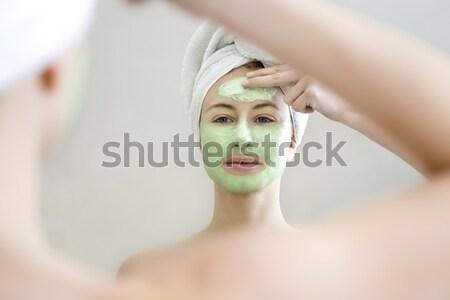 スパ 若い女性 適用 緑 女性 顔 ストックフォト © diego_cervo