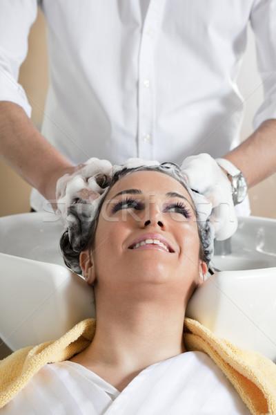Salon fryzjerski portret młoda kobieta kobieta człowiek głowie Zdjęcia stock © diego_cervo