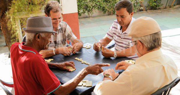 Active Retirement Happy Old Friends Playing Domino Game Stock photo © diego_cervo