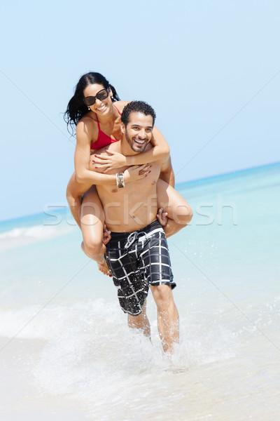 Foto stock: A · cuestas · feliz · hombre · mujer · adulto · Pareja