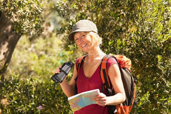 Kadın yürüyüş genç sarışın kadın dürbün Stok fotoğraf © diego_cervo