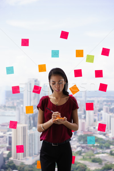 Confused Assistant Scheduling Tasks On Adhesive Notes Stock photo © diego_cervo
