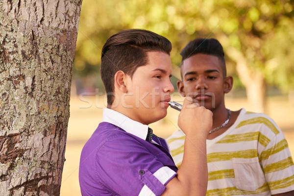 Groupe adolescents garçon fumer électronique cigarette Photo stock © diego_cervo