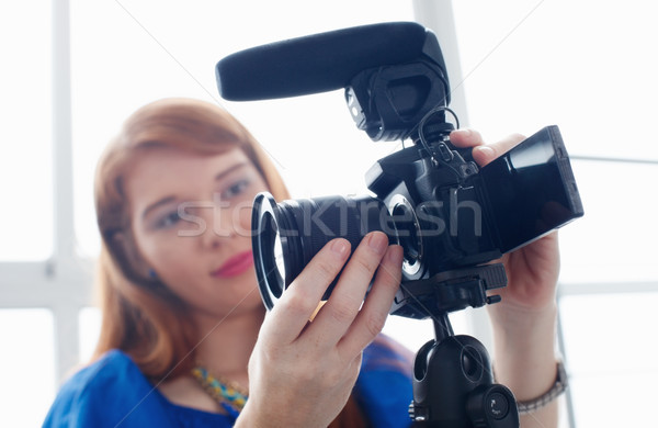 Woman Recording Vlog Video Blog Using DSLR Camera Stock photo © diego_cervo