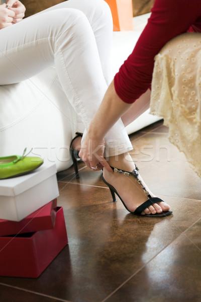 Alışveriş genç kadın ayakkabı kadın ayaklar Stok fotoğraf © diego_cervo