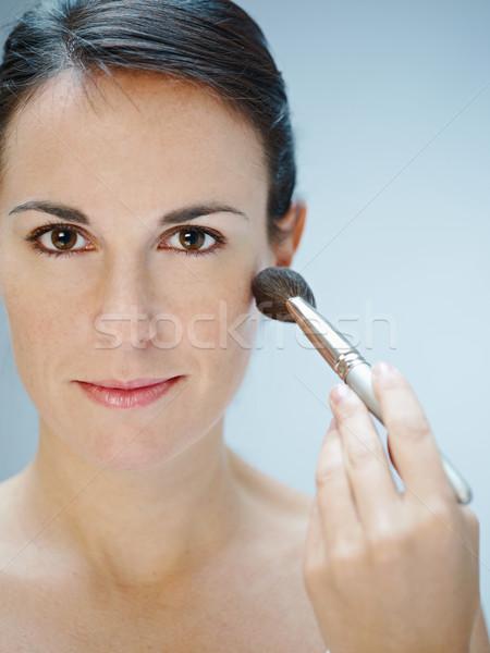 Nő jelentkezik sminkecset közelkép copy space kéz Stock fotó © diego_cervo