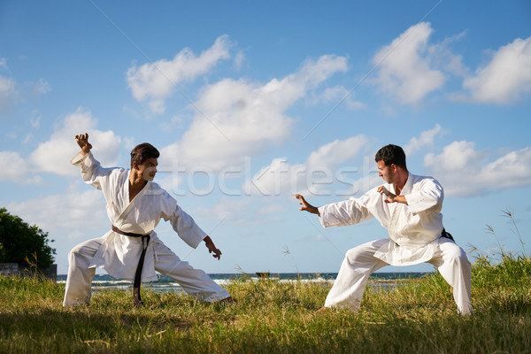 Men Kicking Punching Fighting During Combat Sport Karate Simulat Stock photo © diego_cervo