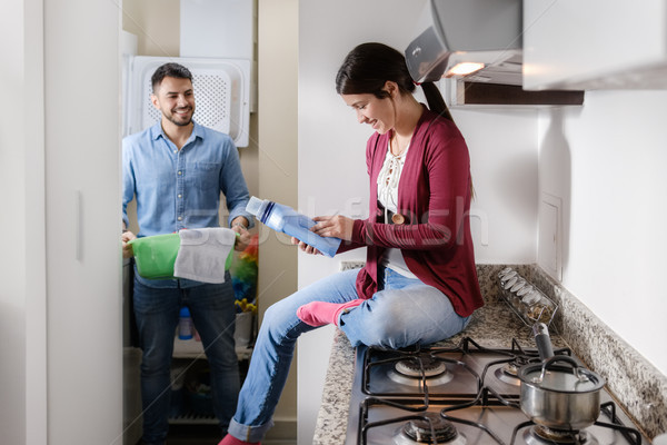 Man And Woman Doing Chores Washing Clothes Stock photo © diego_cervo