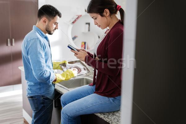 Mann Frau home Hausarbeit Küche Stock foto © diego_cervo