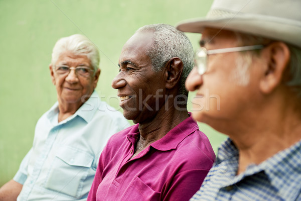 Group of old black and caucasian men talking in park Stock photo © diego_cervo
