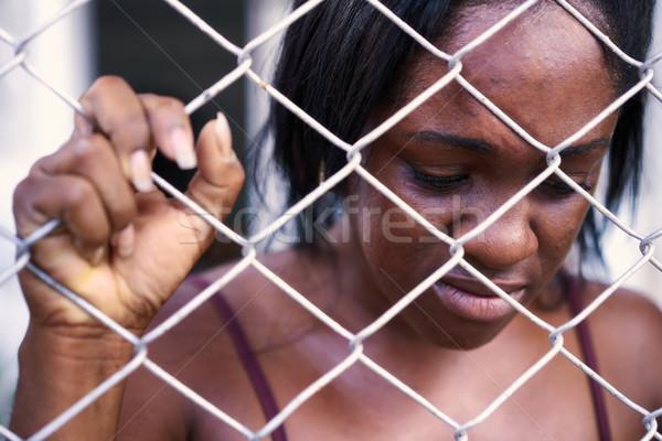 絶望的な 落ち込んで 女性 泣い 家庭内暴力 虐待 ストックフォト © diego_cervo