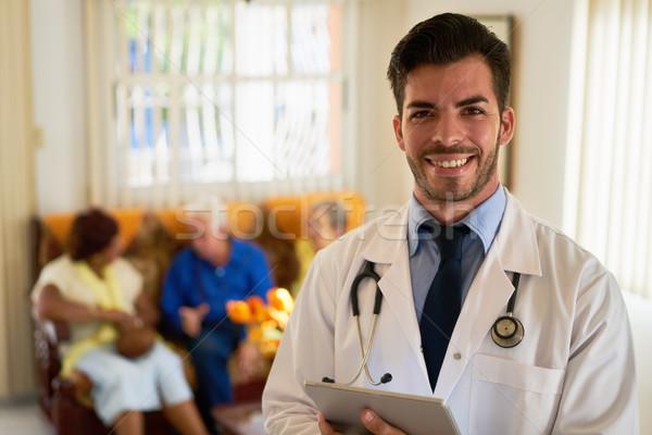 Portré boldog fiatal orvos dolgozik orvosi Stock fotó © diego_cervo
