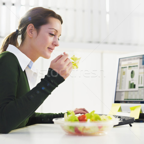woman eating salad Stock photo © diego_cervo