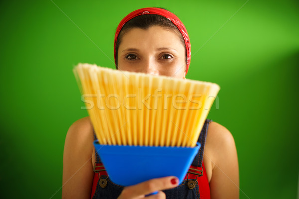Portrait heureux femme balai Photo stock © diego_cervo