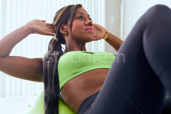 Otthon fitnessz afroamerikai nő képzés labda fiatal felnőtt Stock fotó © diego_cervo