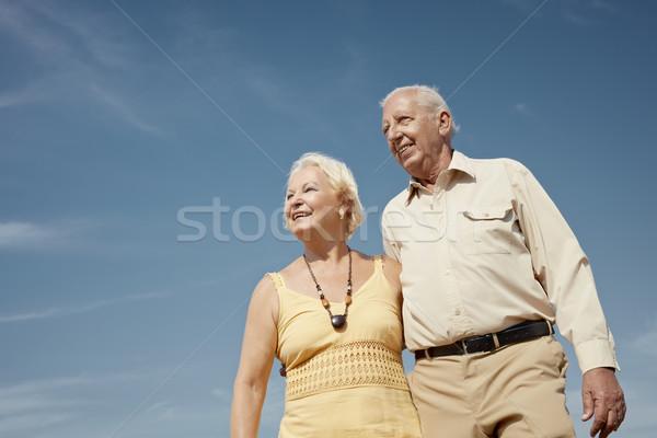 Stockfoto: Oude · man · vrouw · hemel · senior · kaukasisch · paar