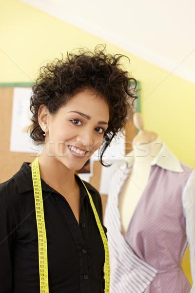 ストックフォト: 女性 · 作業 · ファッションデザイン · スタジオ · 肖像 · 小さな